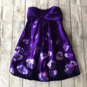 Strapless Purple Party Dress